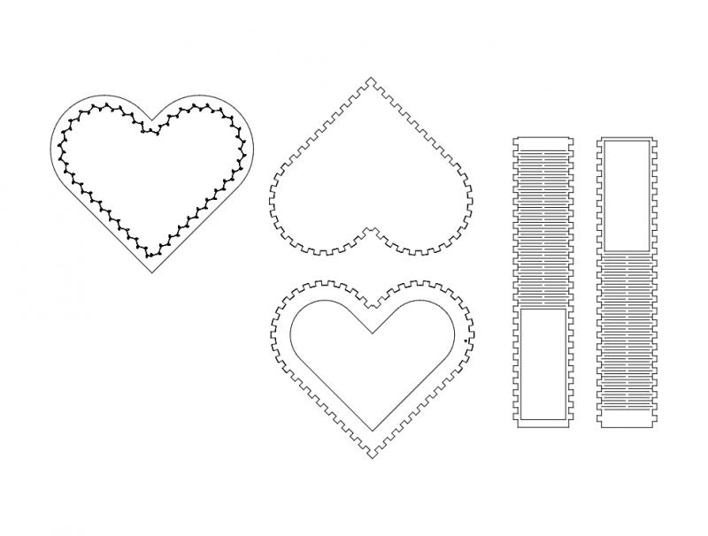 Kalpl Kutu (Heart Box) dxf File