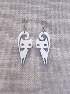Cat Earrings Laser Cut Free Vector