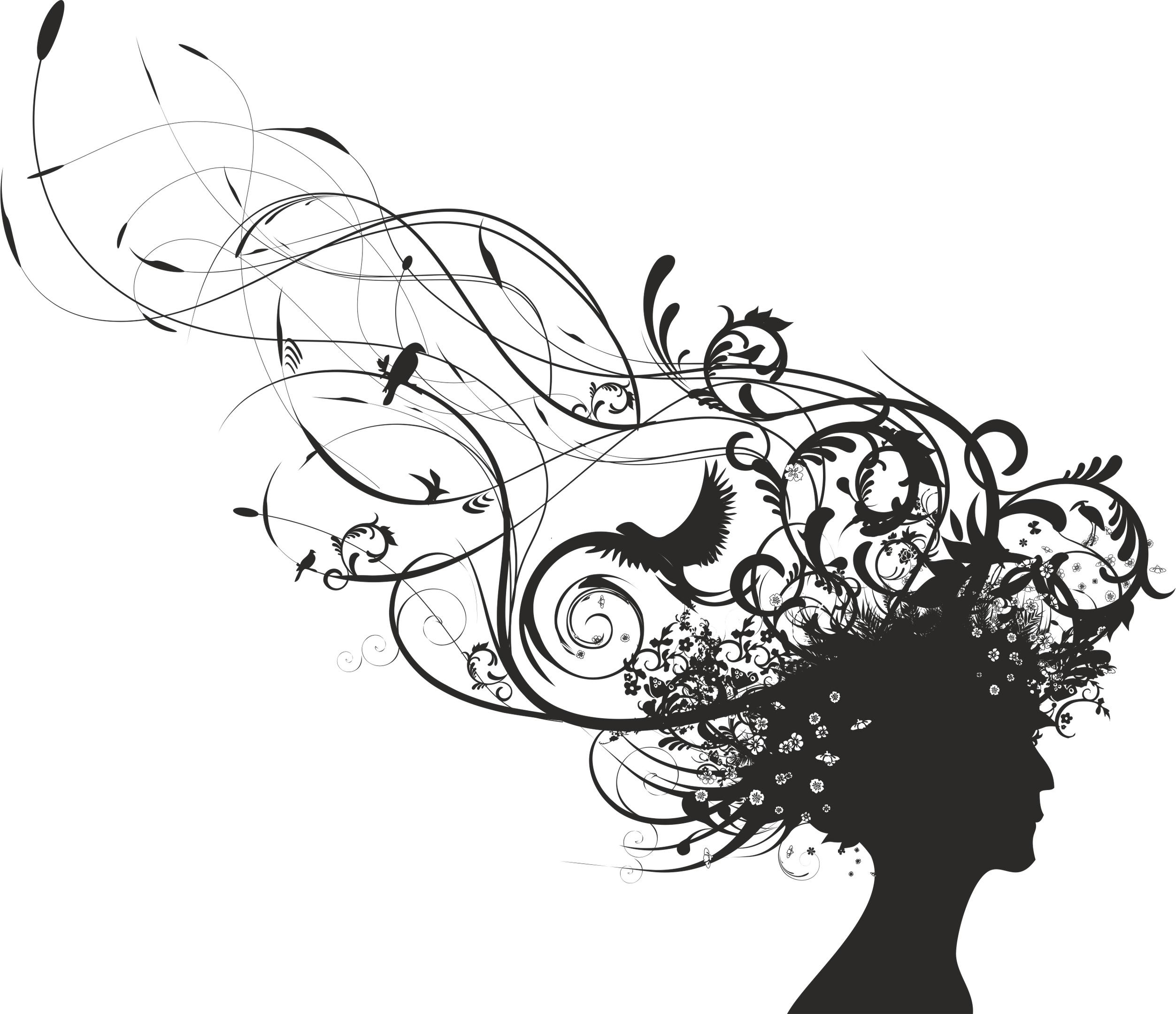 Curly Hair Woman Vector Art Free Vector