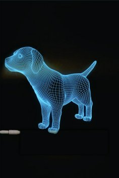 Dog  3D LED Night Light Free Vector