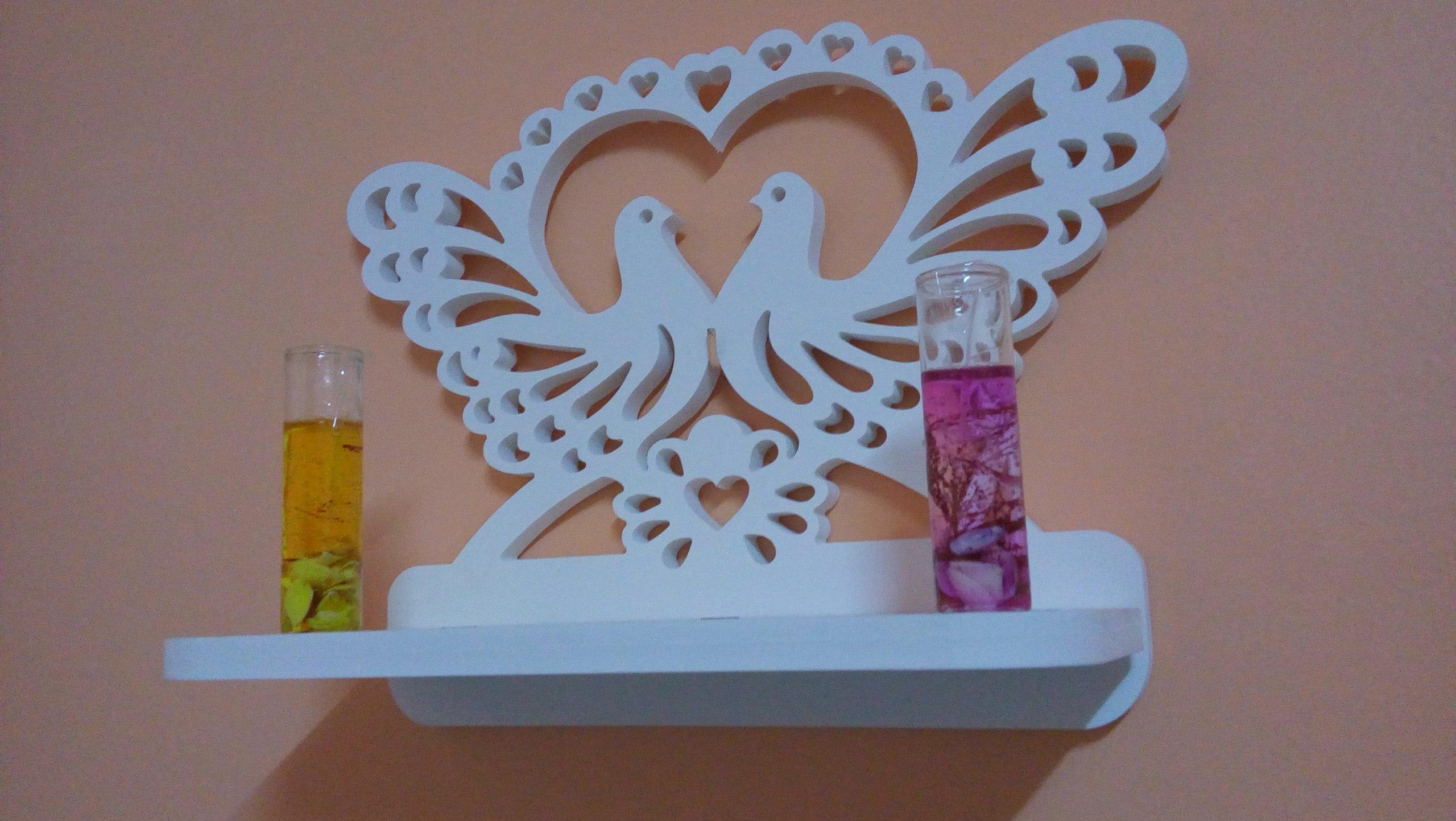 Decorative Bird Heart Shelf DXF File