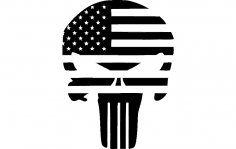 Punisher Flag Superhero Silhouette dxf File