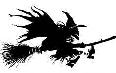 Witch Flying on Broom Silhouette dxf File