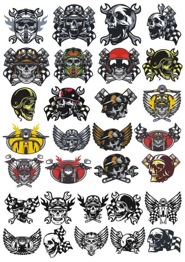 Moto Skull Sticker Vectors Free Vector