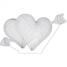 Double hearts 3d illusion lamp Free Vector
