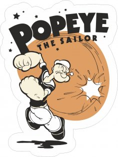 Popeye The Sailor Sticker Free Vector