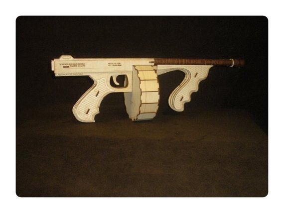 Wooden Tommy Gun Laser Cut DXF File