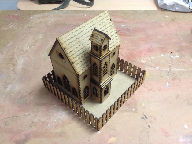 Laser Cutting Church SVG File