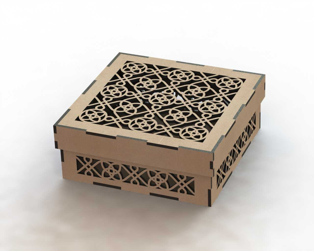 Laser Cut Wooden Box Template DXF File