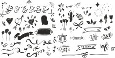 Handdrawn Decor Set Free Vector