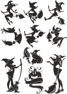 Witch Silhouette Vectors Free Vector