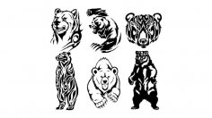 Tribal Bear Vector art Free Vector