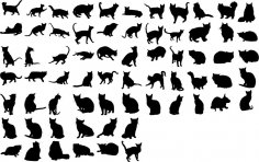 Cats Collection Vector Silhouette Free Vector