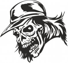 Zombie Skull with Cap Sticker Vector Free Vector