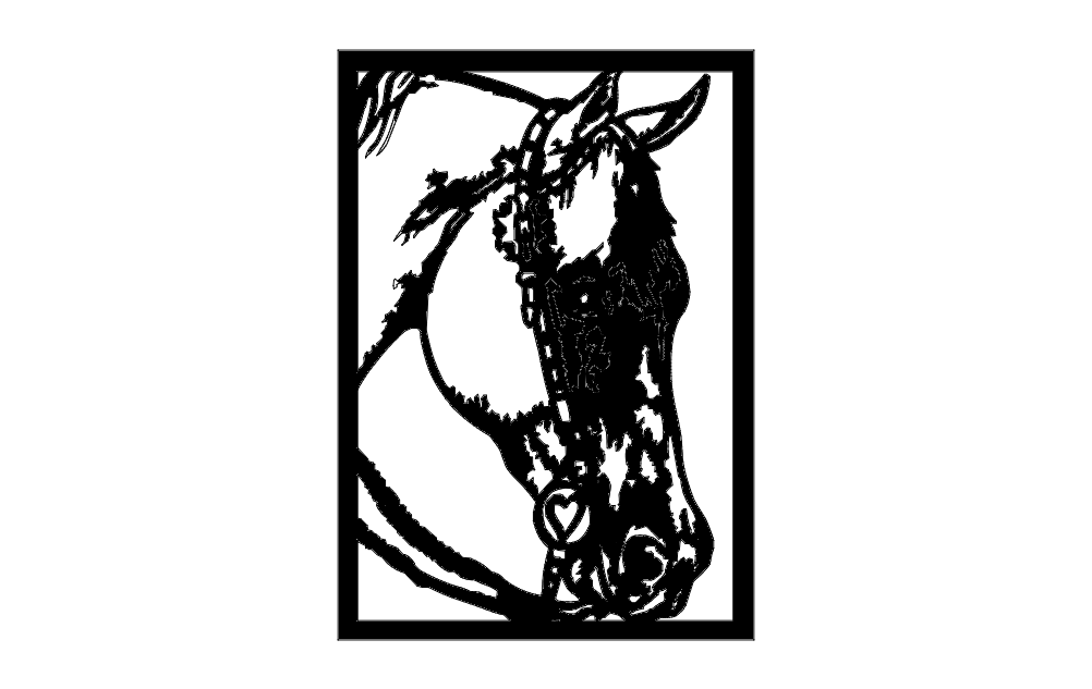 Horse Head Frame dxf File