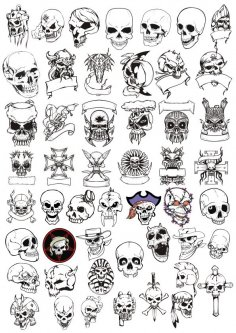 Horror Skulls Vector Art Collection Free Vector