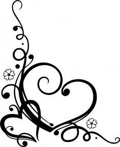 Love Heart Floral Swirl Vector Free Vector