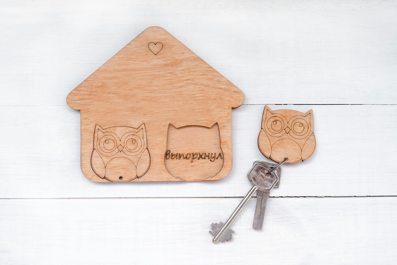 Laser Cut Key Hanger Owl DXF File