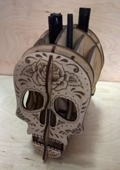 Laser Cut Skull Pencil Holder Free Vector