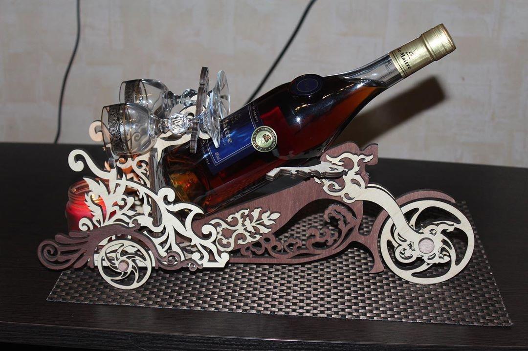 Laser Cut Motorcycle Wine Bottle Holder Wine Butler Free Vector