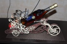 Laser Cut Motorcycle Wine Bottle Holder Wine Butler Free Vector