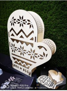 Laser Cut Plywood Box Mitten Glove Shape Free Vector