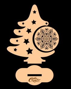 Laser Cut Christmas Tree with Ornament Free Vector