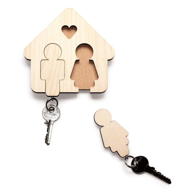 Laser Cut Key Hanger for Couple DXF File