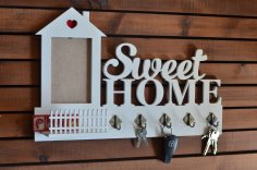 Laser Cut Sweet Home Key Hanger with Fence Free Vector