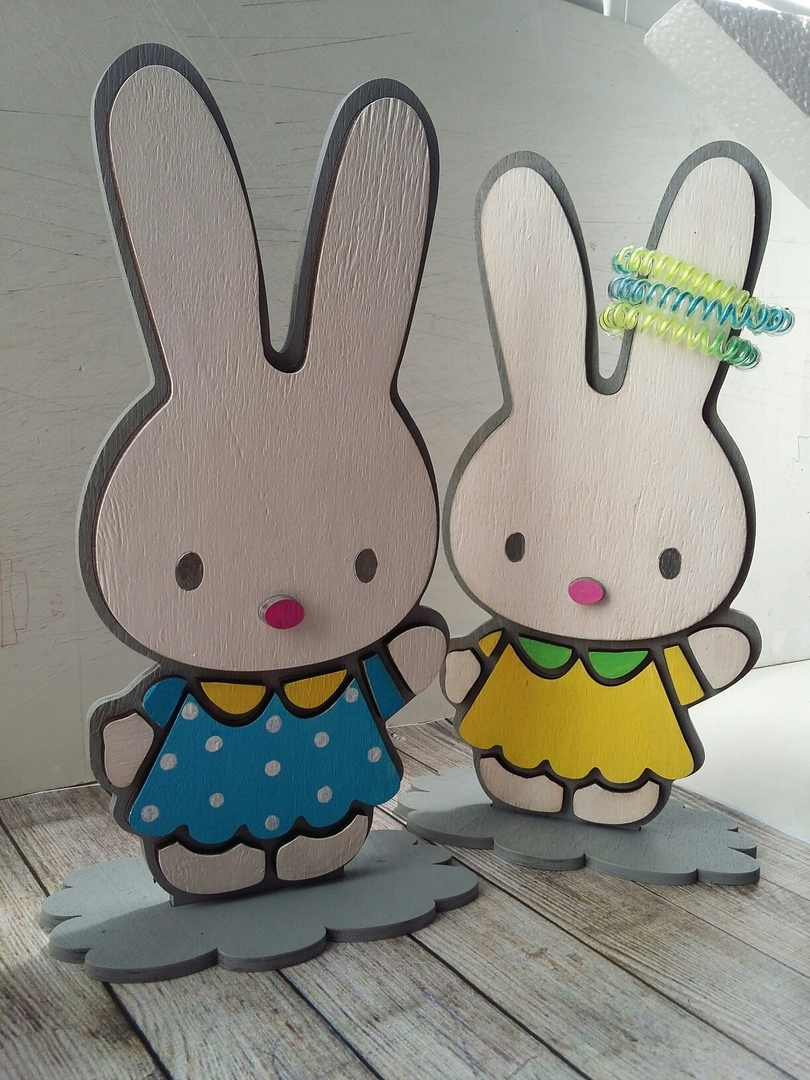 Laser Cut Bunny Stand for Hairpins Free Vector