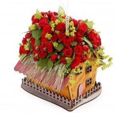 Laser Cut House Shaped Planter Flower Pot Home Decor Free Vector