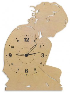Laser Cut Lonely Girl Wall Clock Wall Decor Free Vector