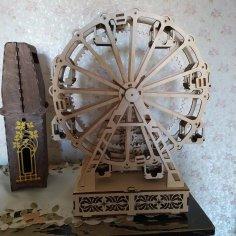 Laser Cut Wooden Ferris Wheel Free Vector