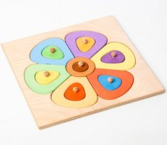 Laser Cut Montessori Early Educational Toy Color Learning Baby Kids Shape Sorting Toy Free Vector