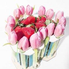 Laser Cut Heart Shape Chocolate Bouquet Gift Box Basket Free Vector