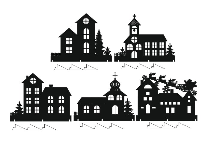 Laser Cut Christmas Window Decor Houses Window Sill Decorating Ideas Free Vector
