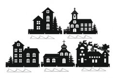 Laser Cut Christmas Window Decor Houses Window Sill Decorating Ideas Free Vector
