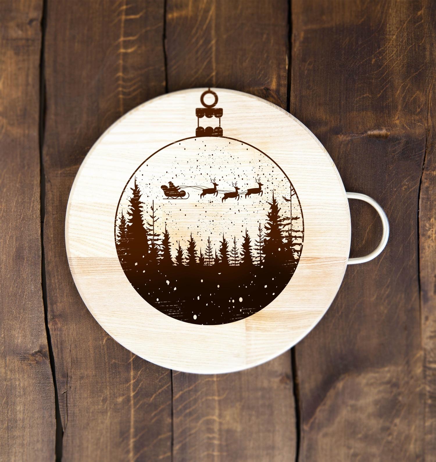 Laser Engraving Christmas Flying Santa Sleigh Reindeer Free Vector