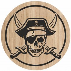 Laser Engraving Art Pirate Skull For Cutting Board Free Vector