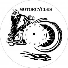 Motorcycle Clock Laser Cut Free Vector