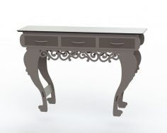 Table with Three Drawers DXF File