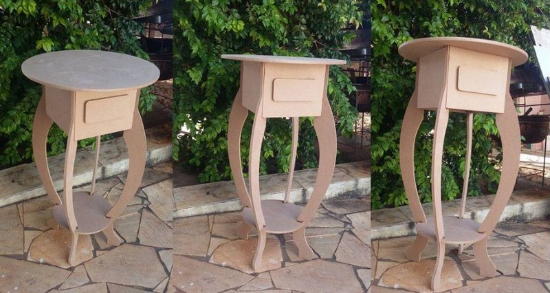 Round End Table Lamp Table with Drawer DXF File