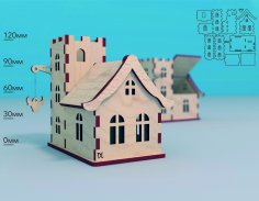 Laser Cut Wooden House Model Bull Tavern Hanging Sign 4mm Free Vector