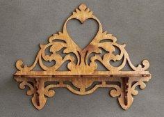 Laser Cut Wooden Heart Decor Wall Shelf Free Vector