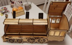 Laser Cut Locomotive Or Train Engine Wine Bottle Holder Gift Box DXF File