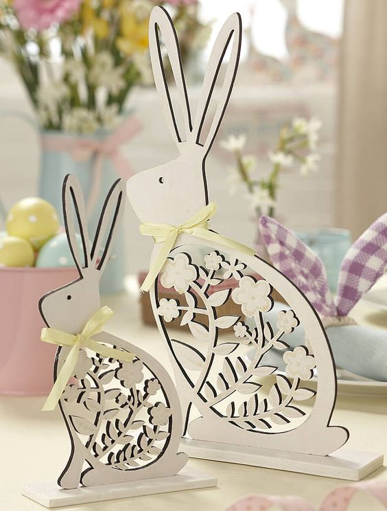 Laser Cut Easter Bunny Decoration Free Vector