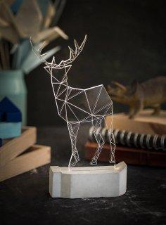Laser Cut Modern Christmas Reindeer Lamp Geometric Deer Night Light Free Vector