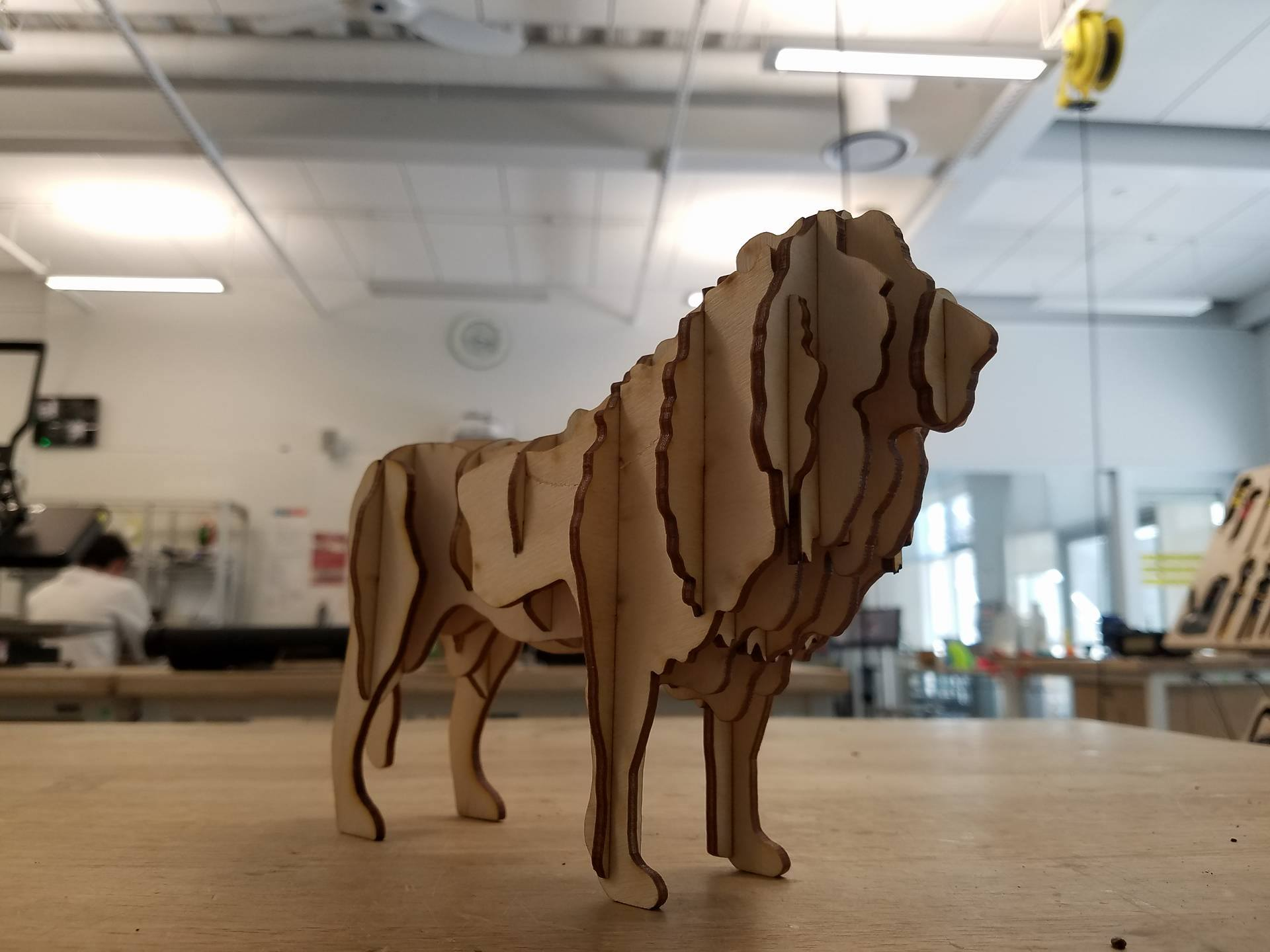 Laser Cut Lion 3D Puzzle Free Vector
