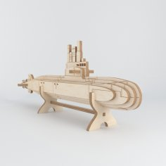 Laser Cut Submarine Wooden Model Free Vector