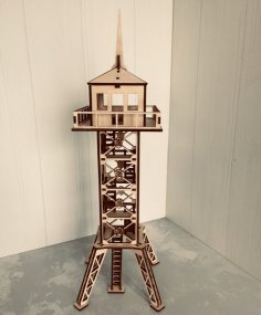 Laser Cut Military Observation Tower 3d Wooden Model  Free Vector